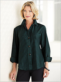 Sateen Stripe Shirt by Foxcroft