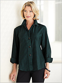 Sateen Stripe Shirt by Foxcroft