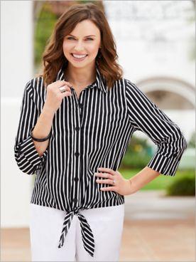 Hampton Stripe Tie Front Shirt