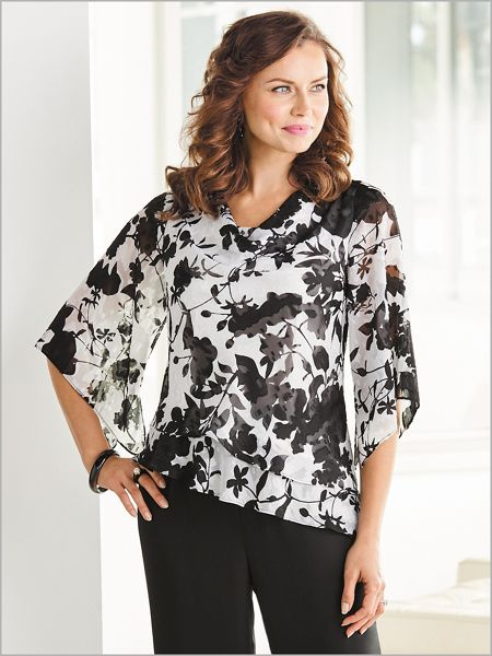 Nice Floral Cowl Neck Top by Alex Evenings for cheap