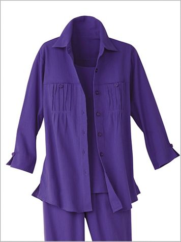 Pintuck Mojave® 3/4 Sleeve Big Shirt - Image 1 of 6