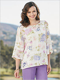 Windowpane Garden Floral Blouse