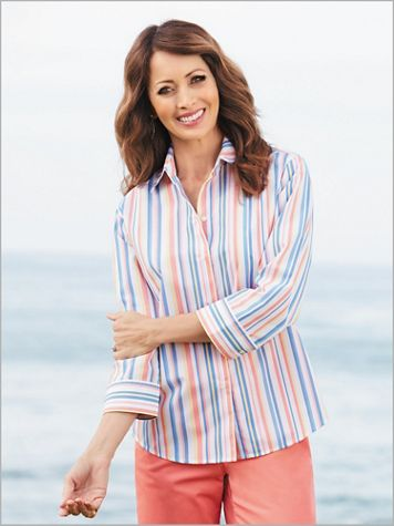 Catalina Stripe ¾ Sleeve Shirt by Foxcroft - Image 2 of 2