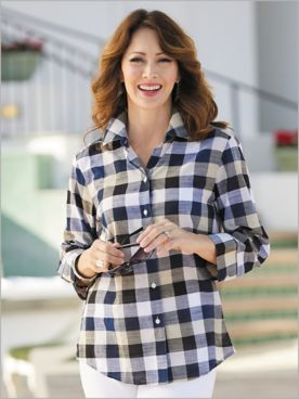 ¾ Sleeve Plaid Shirt by Foxcroft