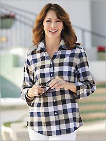 ¾ Sleeve Plaid Shirt by Foxcroft