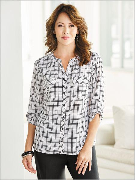 Discount Grid Print Big Shirt for cheap