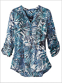 Tropical Palm Pintuck Top