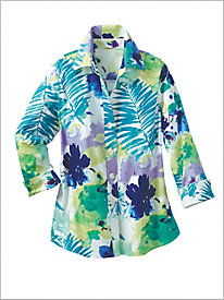 Watercolor Palm Print Big Shirt