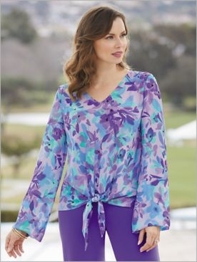 Paradise Bloom Tie Front Top