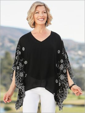 Embroidered Sleeve Poncho Top