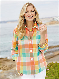 Sherbet Plaid &#190 Sleeve Shirt by Foxcroft