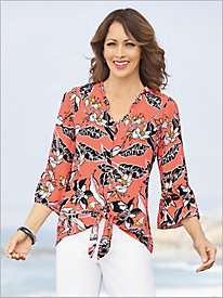 Ruffle Neck Floral Tie Front Blouse