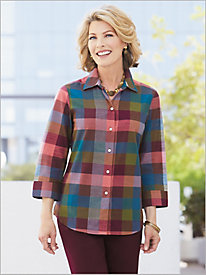 ¾ Sleeve Napa Plaid Shirt by Foxcroft
