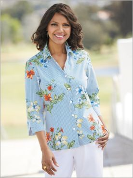 Alfred Dunner Woven Floral Stripe 3/4 Sleeve Shirt