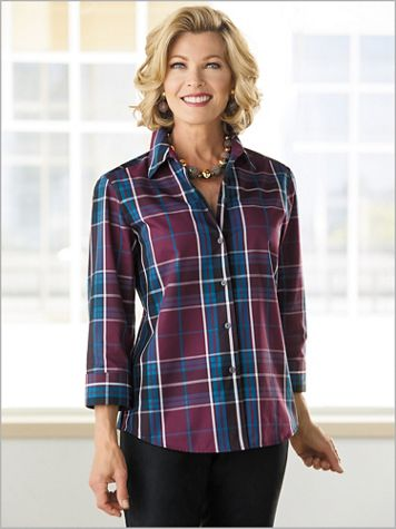 Monterey Plaid Shirt by Foxcroft - Image 2 of 2