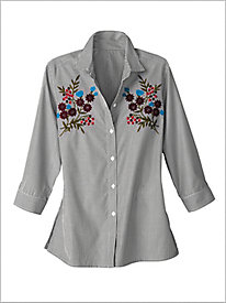 Embroidered Vineyard Stripe Shirt by Foxcroft