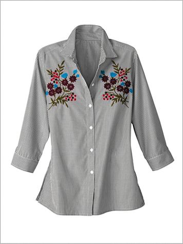 Embroidered Vineyard Stripe Shirt by Foxcroft - Image 2 of 2