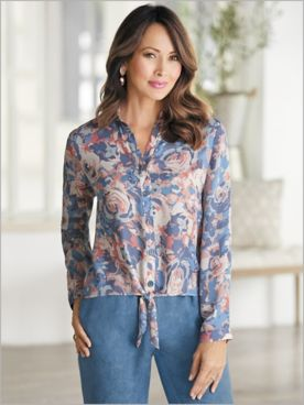 Tie Front Watercolor Floral Shirt