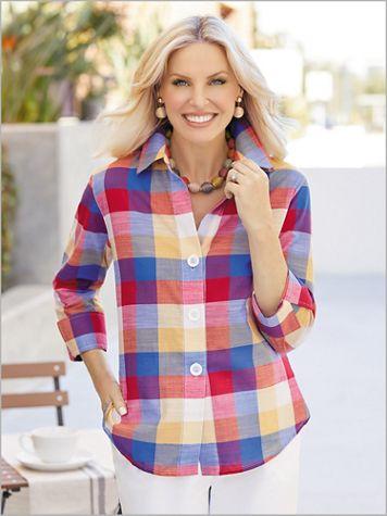Lollipop Plaid Shirt by Foxcroft - Image 3 of 3