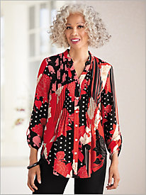 In The Mix Print Crepe Pleated Shirt by Ruby Rd.