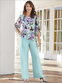 Forever Floral Triple Tiered Top & Chiffon Pants by Alex Evenings