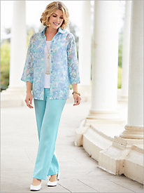 Floral Fantasy Burnout Shirt & Textured Stretch Crepe Separates