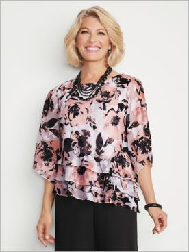 Bold Botanical Triple Tier Top by Alex Evenings