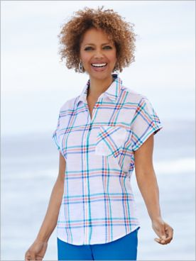 Coastal Plaid Short Sleeve Shirt by Foxcroft