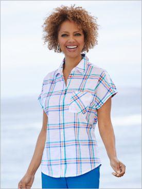 Coastal Plaid Short Sleeve Shirt by Foxcroft