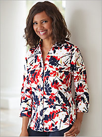 Spectator Floral ¾ Sleeve Shirt by Foxcroft