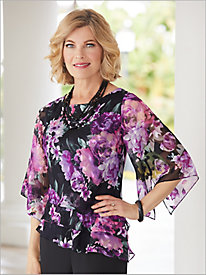 Flirty Floral Triple Tiered Top by Alex Evenings