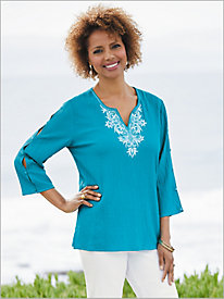 Waikiki Bubble Gauze Tunic by Alfred Dunner