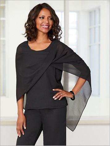 Georgette Draped Wrap - Image 1 of 2