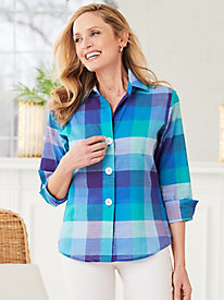Balboa Plaid ¾ Sleeve Shirt by Foxcroft