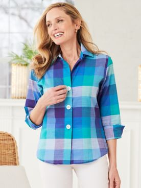 Balboa Plaid ¾ Sleeve Shirt by Foxcroft