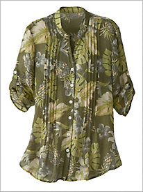 Pintuck Leaf Print Shirt