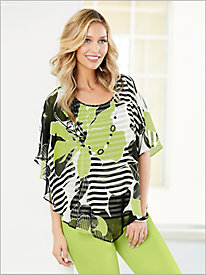 Cayman Islands Floral Stripe Blouse by Alfred Dunner