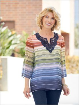 Lake Tahoe Biadere Stripe Top by Alfred Dunner