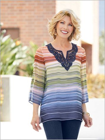 Lake Tahoe Biadere Stripe Top by Alfred Dunner - Image 2 of 2