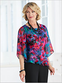 Watercolor Floral Triple Tier Top by Alex Evenings