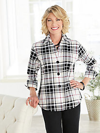 Perfectly Plaid ¾ Sleeve Shirt by Foxcroft