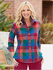 Pasadena Plaid ¾ Sleeve Shirt by Foxcroft