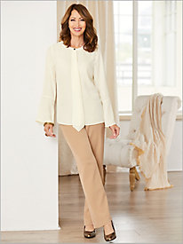 Modern Luxe Georgette Solid Shirt & Bi-Stretch Pants