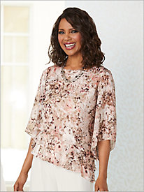 Painterly Floral Triple Tier Top by Alex Evenings