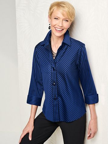 Foxcroft Wrinkle-Free Sateen Bias Stripe 3/4 Sleeve Shirt - Image 1 of 5