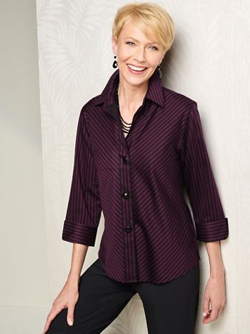 Foxcroft Wrinkle-Free Sateen Bias Stripe 3/4 Sleeve Shirt - Image 1 of 6