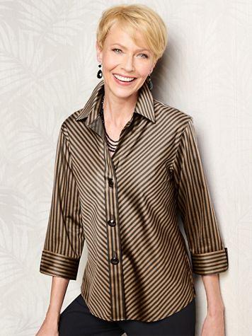 Foxcroft Wrinkle-Free Sateen Bias Stripe 3/4 Sleeve Shirt - Image 1 of 4