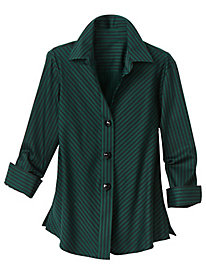 Sateen Bias Stripe Shirt by Foxcroft