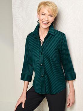 Foxcroft Wrinkle-Free Sateen Bias Stripe 3/4 Sleeve Shirt
