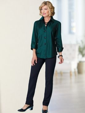 Foxcroft Sateen Bias Stripe Shirt & Slimtacular® Stretch Twill Pants